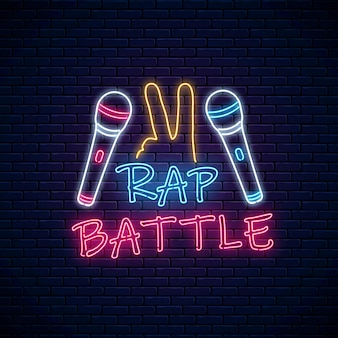 Rap battle neon sign with two microphones and yo gesture.
