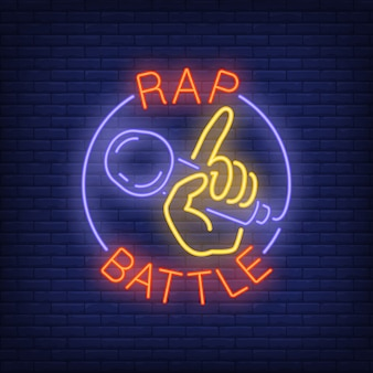 Rap battle neon text and hand holding microphone.