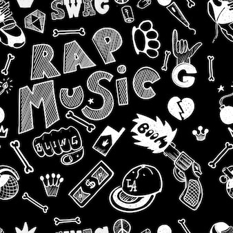Rap hand drawn doodle seamless pattern. sketches.