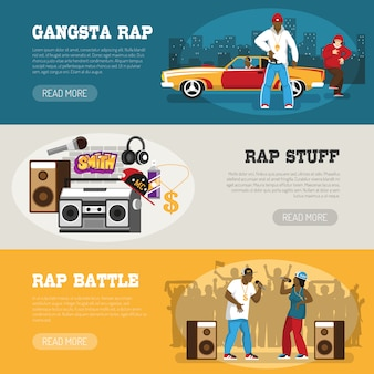 Rap music 3 flat banners