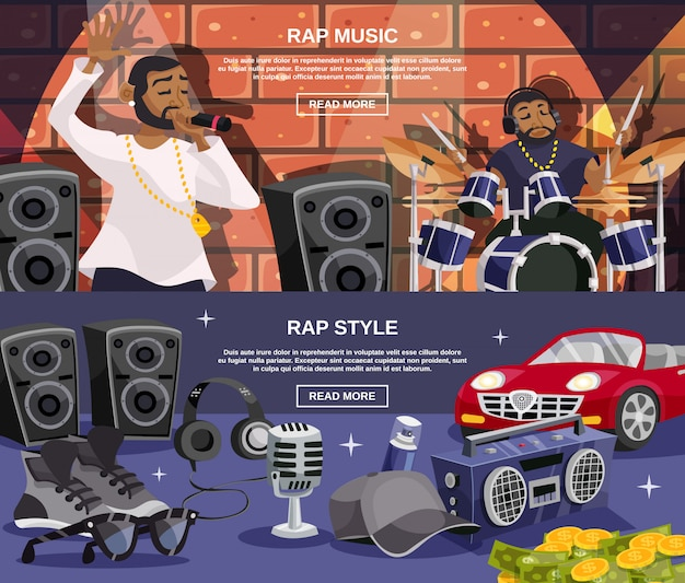 Rap music banner set