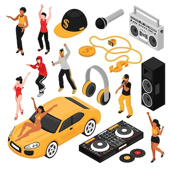 Rap music culture symbols isometric set with singers performers retro accessories so as cassette player isolated
