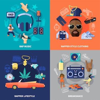 Rap music flat concept