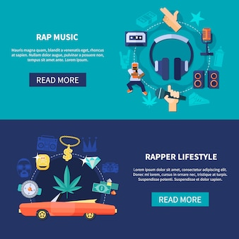 Rap music horizontal banners