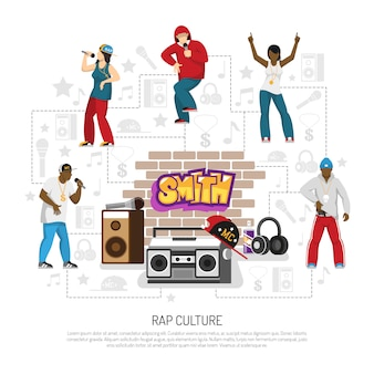 Rap music singers symbols template