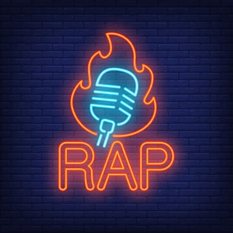 Rap neon word and microphone in flame outline.
