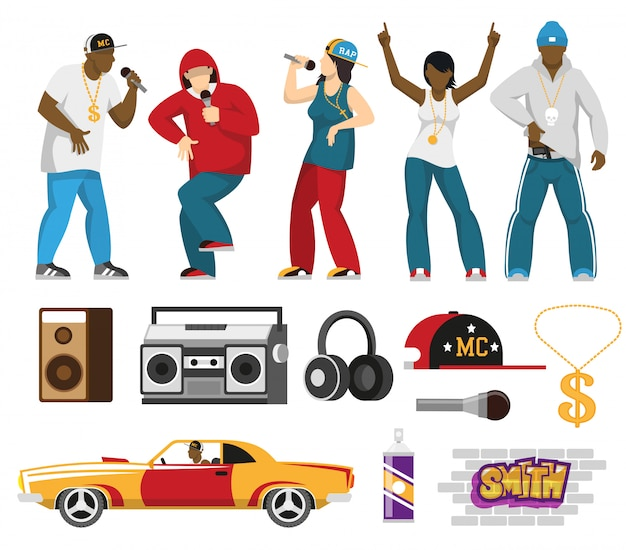 Rap singers and accessories flat set