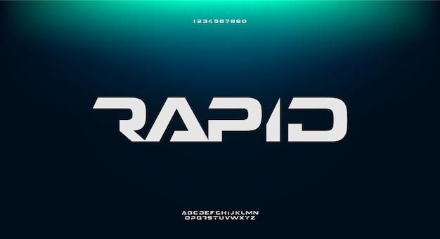 Rapid、テクノロジーをテーマにした抽象的な未来的なアルファベットのフォント。モダンなミニマリストのタイポグラフィデザインプレミアム