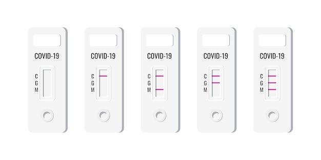 Векторные иллюстрации набора результатов экспресс-тестов на антиген covid.
