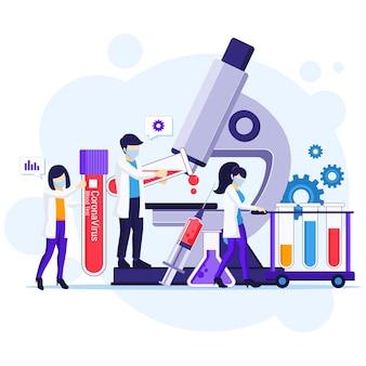 의학에서 일하는 과학자들과 함께 covid-19 코로나 바이러스 질병에 대한 신속한 테스트 개념