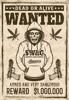 Rapper gangster skull in hoodie wanted poster in vintage style vector illustration. layered, separate grunge texture and text