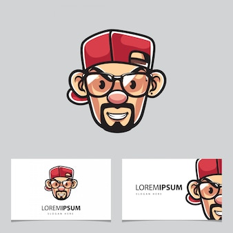 Rapper man mascot and business cards