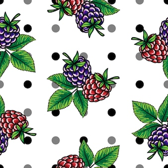 Raspberries and Blackberries on a black and gray polka dot white background.
