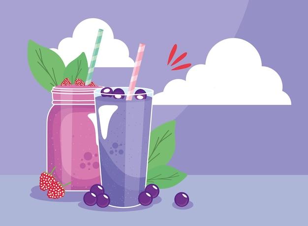Raspberries and berries smoothies drink glasses