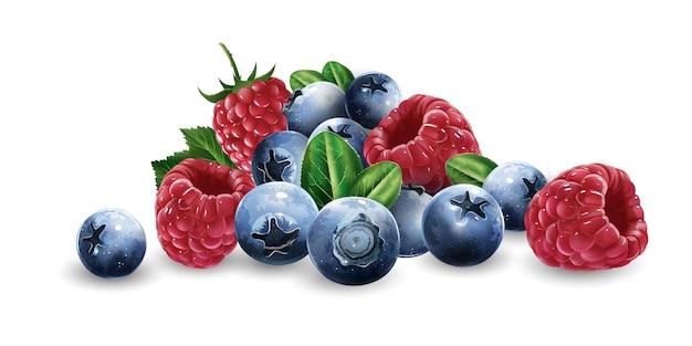 Raspberries, blueberries and strawberries