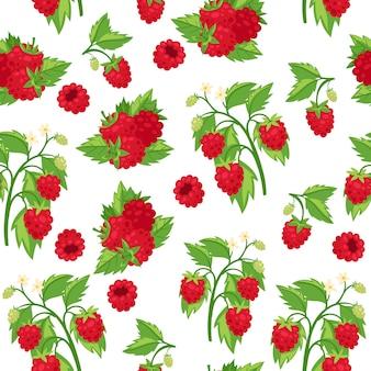 ラズベリーの新鮮な赤い果実と白い背景漫画のシームレスなパターン図の葉。