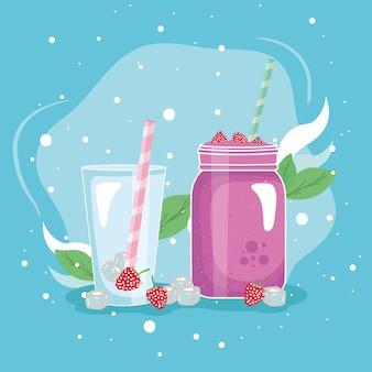 Raspberries smoothie drink glass and jar