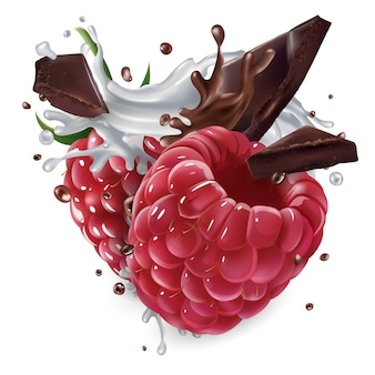 Raspberries with chocolate pieces and a splash of milk.