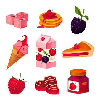 Raspberry and blackberry berries food set