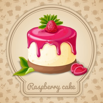 Raspberry cake illustration