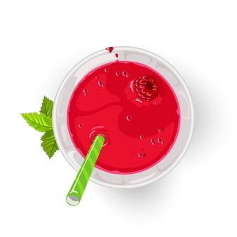 莓鸡尾酒或模仿在玻璃的与秸杆。