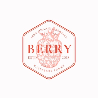 Raspberry farm badge or logo template.
