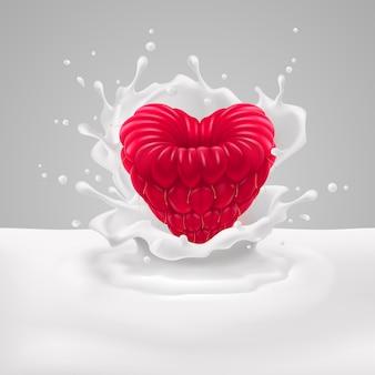 Малиновое сердце с молоком