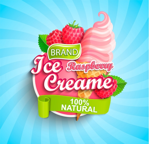 Raspberry ice cream logo, label or emblem.