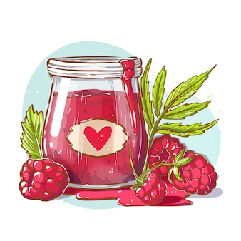 Raspberry jam in a glass bottle with raspberry.