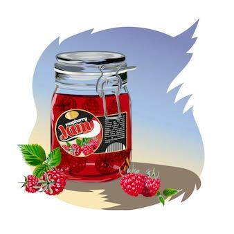Raspberry jam in the jar.