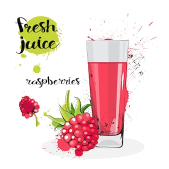Raspberry juice fresh hand drawn watercolor fruits and glass on white background