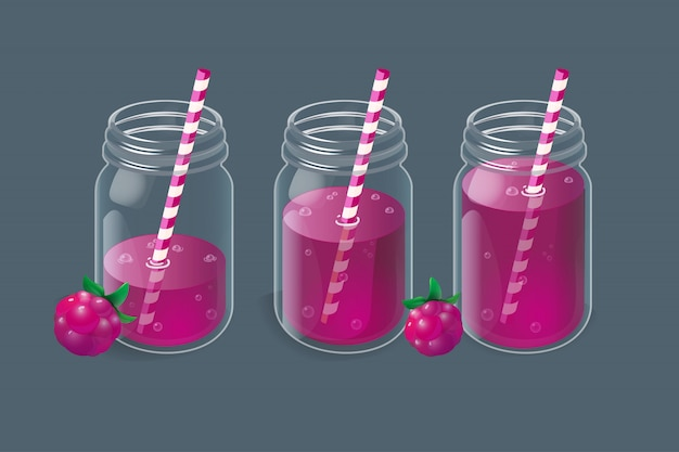 Raspberry lemonade in vintage glass jars.