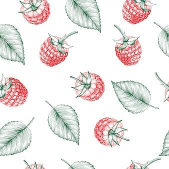 ラズベリーのシームレスなパターン。孤立したベリーブランチスケッチ。お茶、ジュース、自然化粧品、イチゴの詰め物、ファーマーズマーケット、ヘルスケア製品の刻まれたスタイルの背景デザイン。