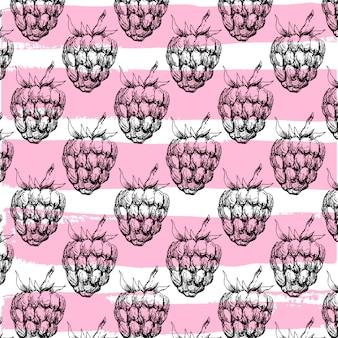 ラズベリーのシームレスパターン
