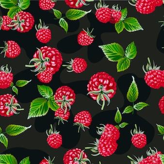 Raspberry vector seamless pattern.