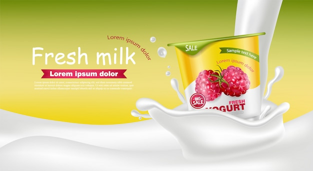 Raspberry yogurt realistic mockup