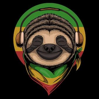 Rasta sloth wearing headphones cartoon illustration on black background