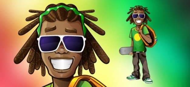 Rastaman character with red, yellow and green background.