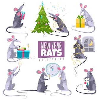 Набор символов новогодних символов крыс животных