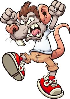 Мальчик-крыса сердито кричит с поднятыми руками.