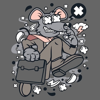 Rat businessman running