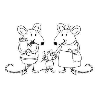 Rat family. dad holds packages with purchases from the store, mom holds a child by the hand, a little boy with candy.