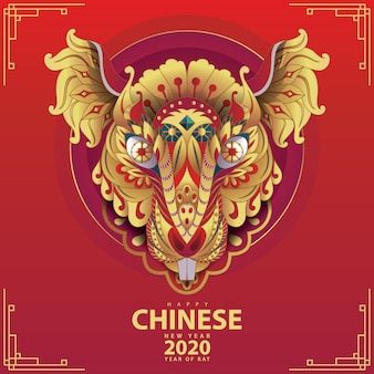 Rat head for chinese new year 2020 red and gold colors
