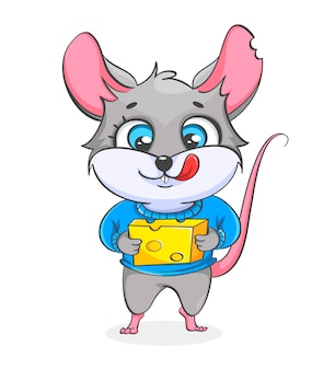 Rat holding cheese illustration