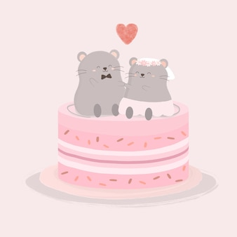 The rat lover sitting on sweet cake, isolated cartoon cute animals romantic couples in love, valentine's concept, illustration