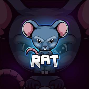 Крыса талисман киберспорт дизайн логотипа