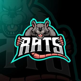 Вектор дизайна логотипа талисмана крысы с современным стилем концепции иллюстрации для печати значков, эмблем и футболок. злые крысы иллюстрации для команды, игр и спорта