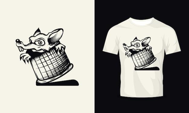 배럴 tshirt 디자인에 쥐