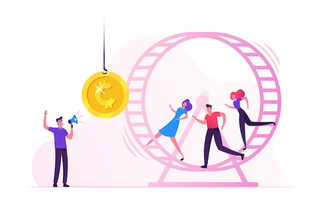 Rat race. stressed businessmen businesswomen running in hamster wheel trying to reach golden coin hanging on rope in front of them. cartoon flat illustration