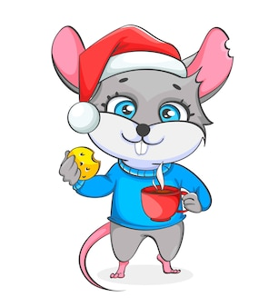 Rat in santa hat holds cookie and a cup of coffee